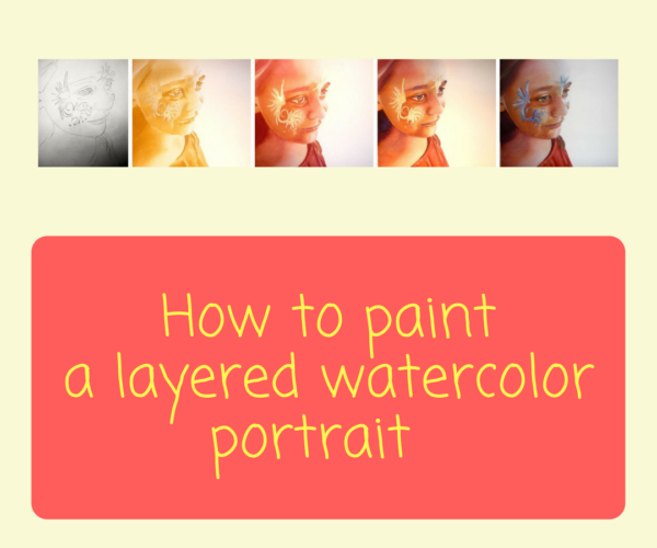 How to paint a layered watercolor portrait by Sandrine Pelissier on ARTiful, painting demos