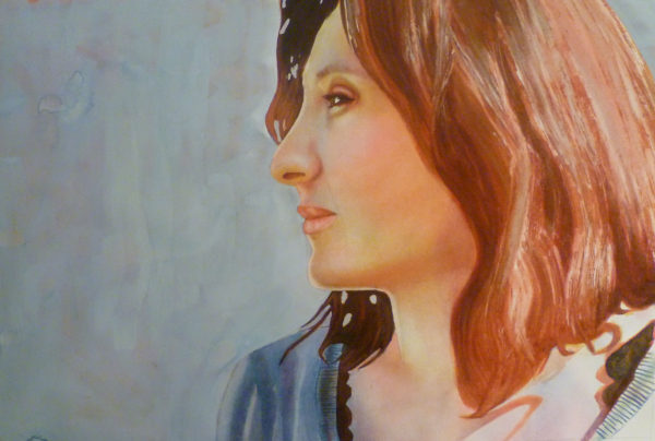 Step by Step watercolor layering Demonstration : Profile Portrait ofSophie