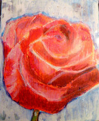 rose painting lesson with acrylic and oil pastels