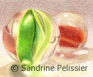 Marbles, colored pencils