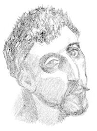 Gauguin, from a series of drawings of famous artists