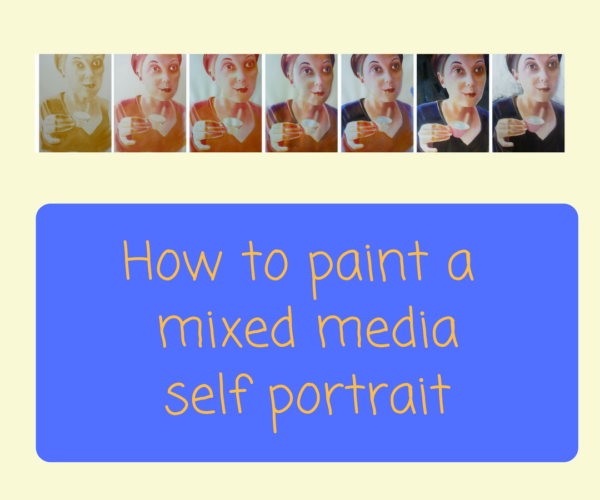 How to paint a mixed media self portrait by Sandrine Pelissier on ARTiful,painting demos