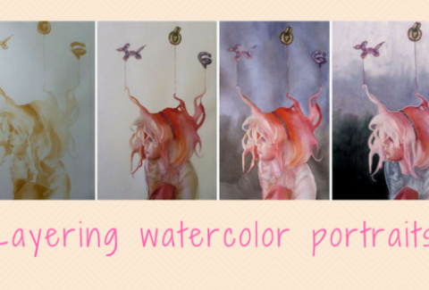 Layering watercolors for portraits by Sandrine Pelissier on ARTiful painting demos