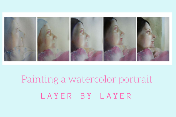 Painting a watercolor portrait layer by layer by Sandrine Pelissier on ARTiful,painting demos
