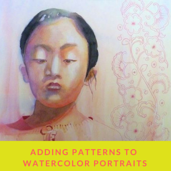 Adding patterns to watercolor portraits by sandrine pelissier on artiful painting demos