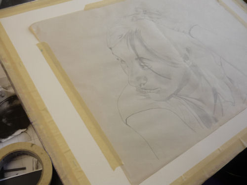 transferring drawing on watercolor paper