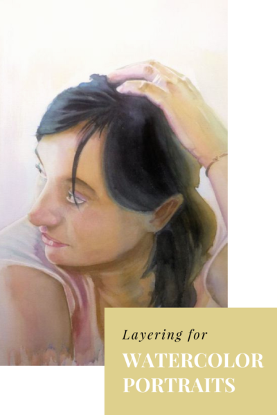 Layering for watercolor portraits by Sandrine Pelissier on ARTiful, painting demos