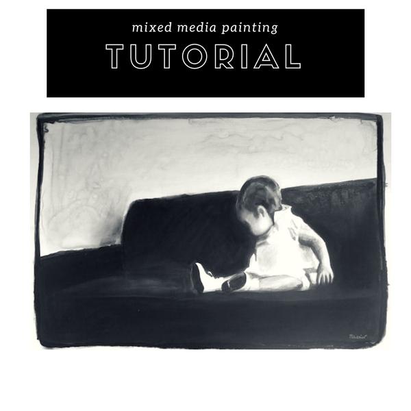 Mixed media painting tutorial on ARTiful, painting demos by Sandrine Pelissier