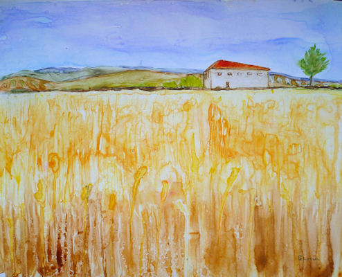 Wheat Fields-Watercolor on yupo paper