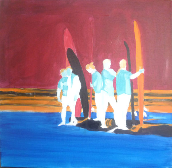 acrylic seascape with surfers, layers of color