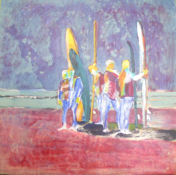 acrylic paint mixed with medium