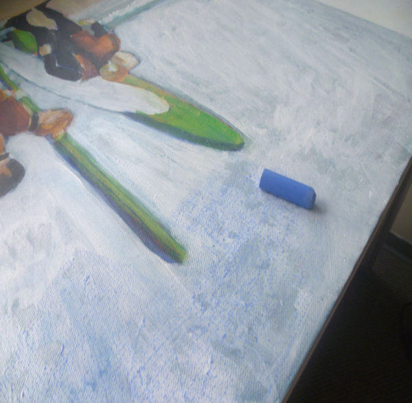painting with oil pastels on top of acrylic paint