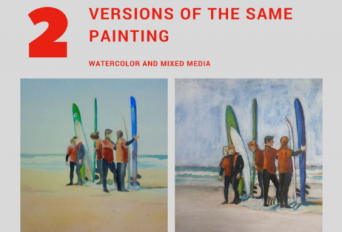 How to paint 2 versions of the same painting with watercolor or mixed media