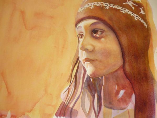 watercolor portrait painting demos: painting colors separately