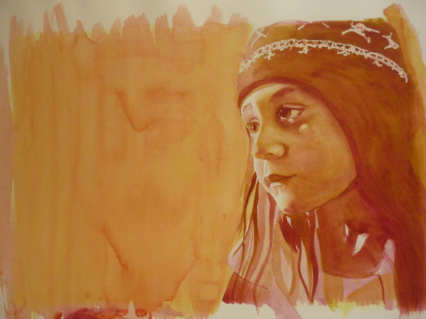 watercolor tutorial, layering colors to paint portraits