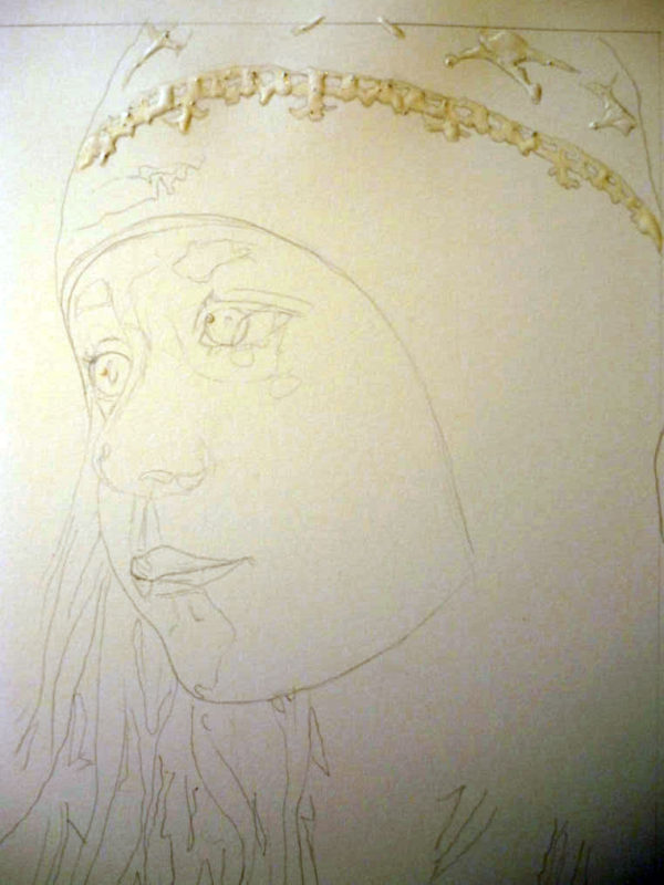 This is my drawing, the paper is Arches cold process. I am using some liquid frisket to reserve the white in some part of the hat and the tiny highlight in the eyes.