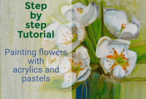 stepby step painting tutorial, painting flowers with acrylic and pastels by Sandrine Pelissier on paintingdemos.com
