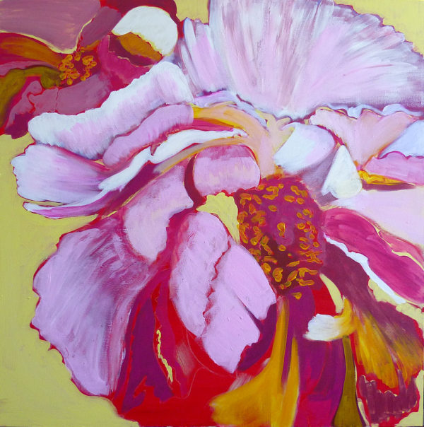 painting of peonies, adding red and orange