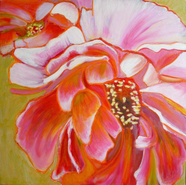 original mixed media flower painting