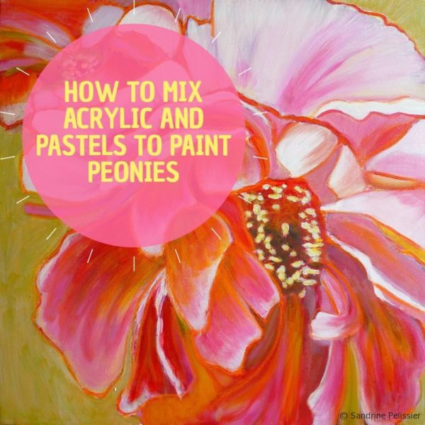 how to mix pastels and acrylic to paint a mixed media peony flower