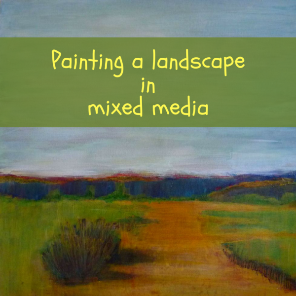 How to paint a landscape with mixed media by Sandrine Pelissier on ARTiful, painting demos