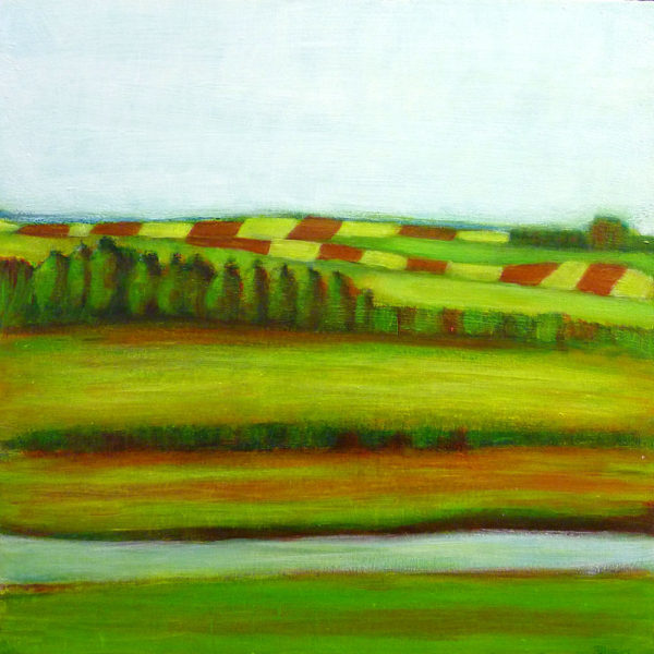 Landscape mixed media painting tutorial :  Farming landscape