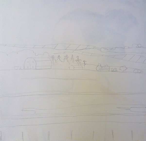 drawing a landscape on canvas