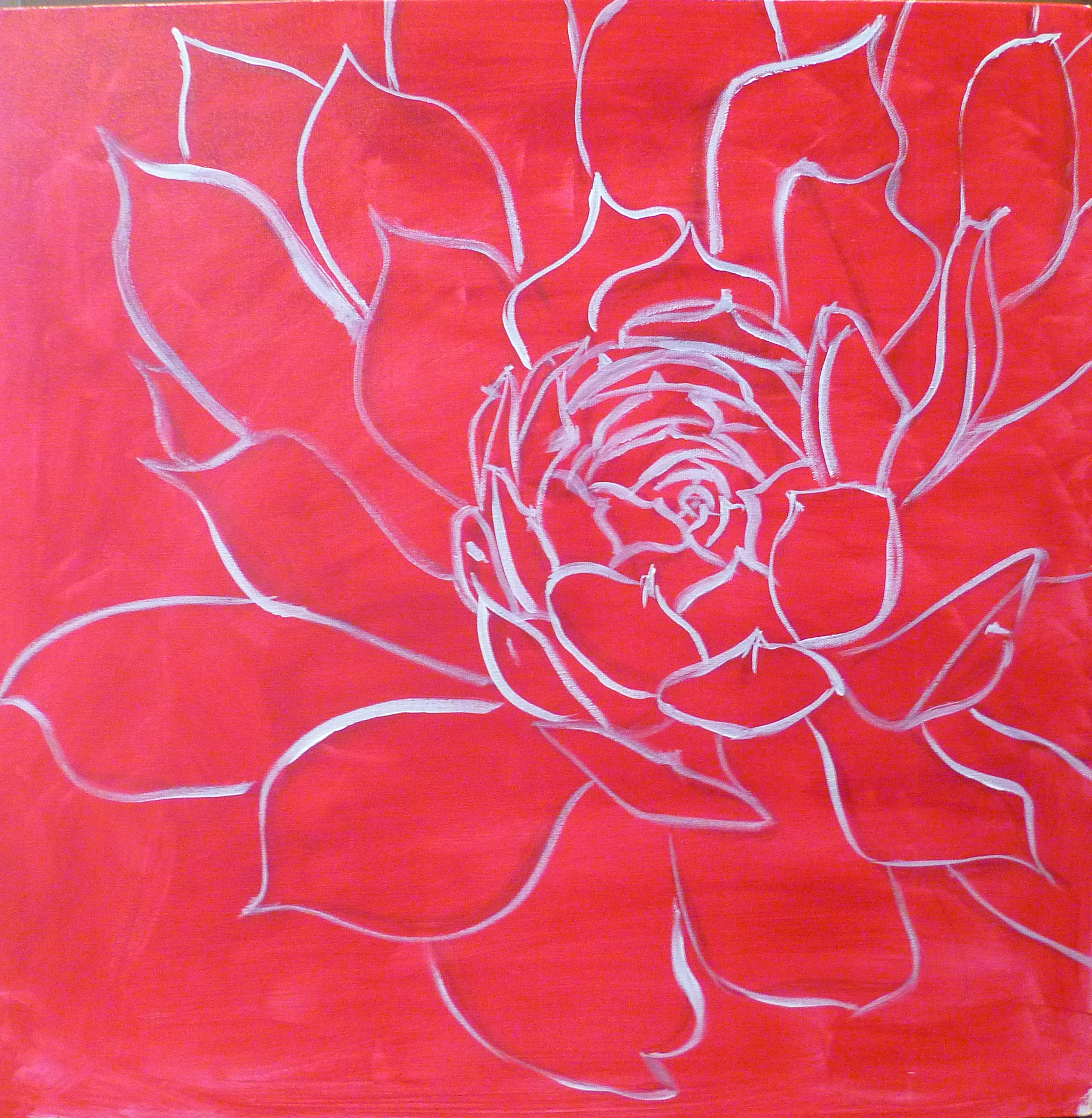 free acrylic painting lesson : drawing on canvas, Then I redraw my outlines with a thin brush and white acrylic paint.