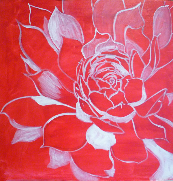 free acrylic painting lesson : drawing on canvas, I start to paint with contrasting colors, here white on the darkest areas.