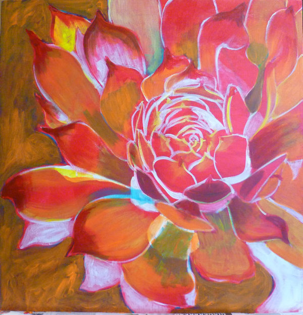 free acrylic painting lessons: painting flowers on canvas Then yellow and oranges. I took