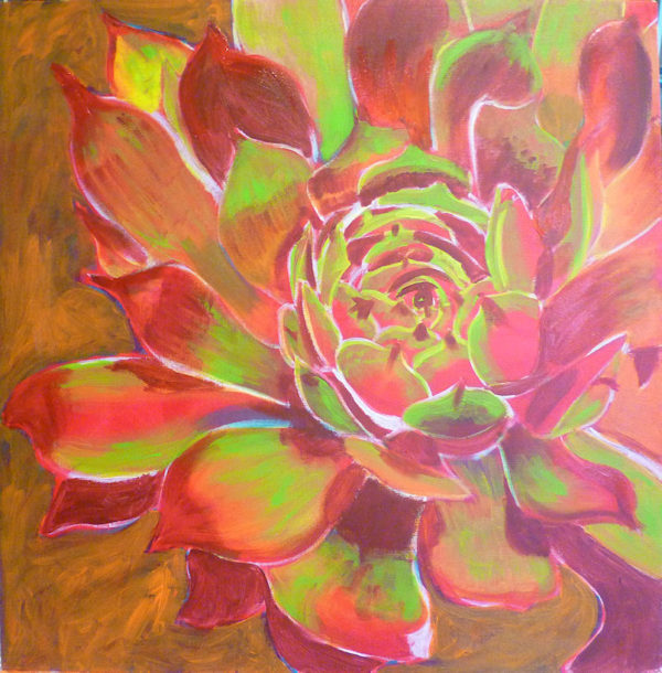 free acrylic painting lessons: painting flowers on canvas Still adding layers.