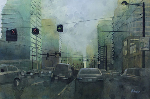 Early this morning- Watercolor on paper