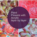 How to paint flowers with acrylics step by step : Hens and Chicks