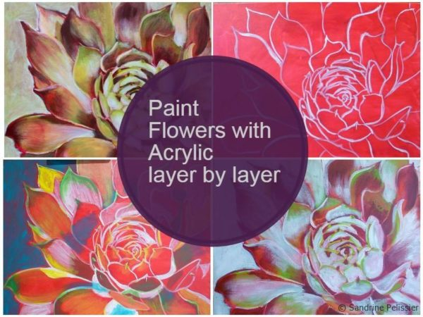 How to paint flowers with acrylics step by step hens and for How to paint a rose in watercolor step by step