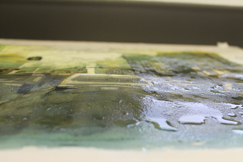 splashing water on watercolor paintings