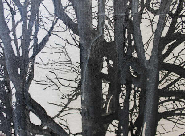 paint trees with ink and acrylic
