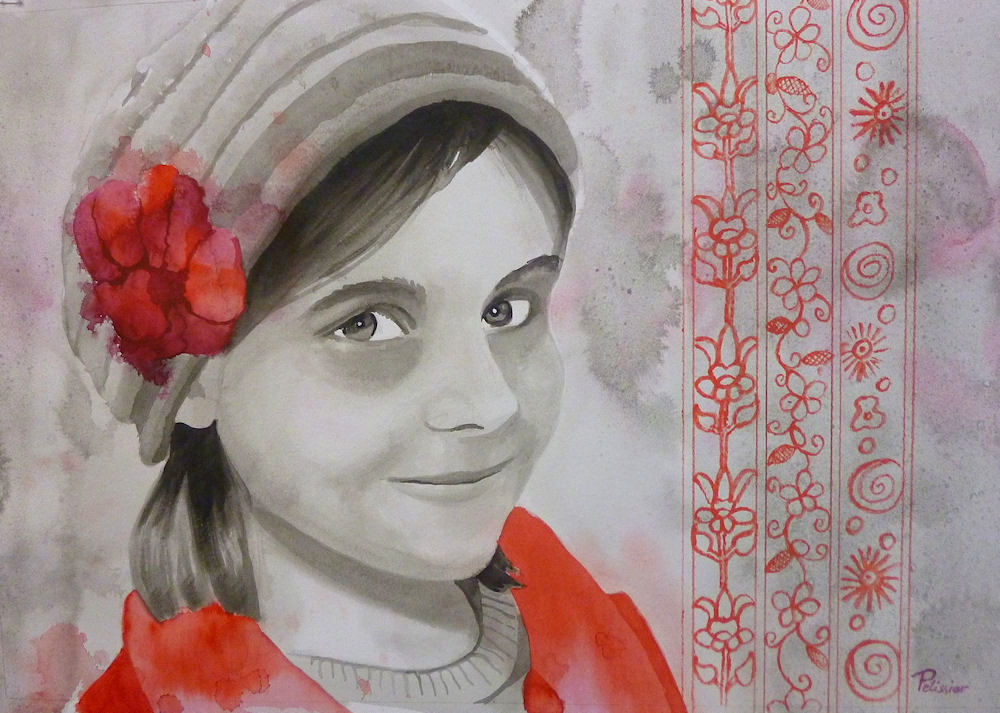 painting a portrait with India ink on canvas