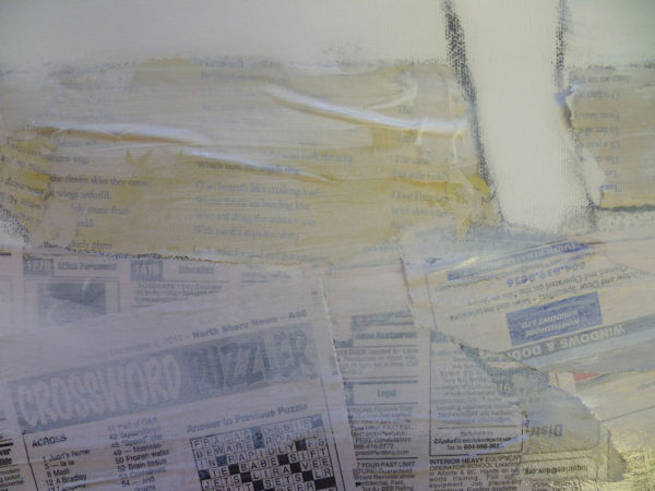 acrylic paint on top of newspapers collage