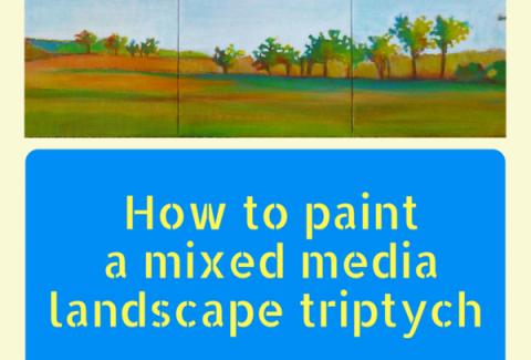 Painting a mixed media landscape triptych on ARTiful, painting demos by Sandrine Pelissier