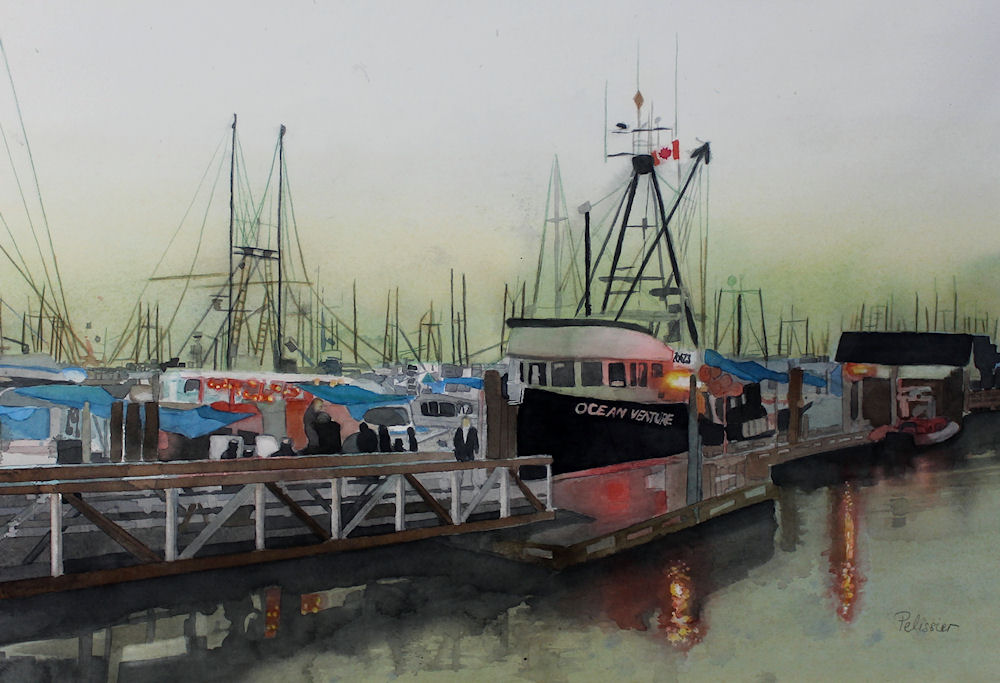 How to paint seascapes :Steveston wharf, watercolor painting tutorial