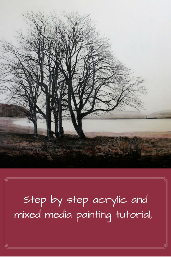 Step by step acrylic and mixed media painting tutorial, Recycling Life by Sandrine Pelissier on ARTiful, painting demos