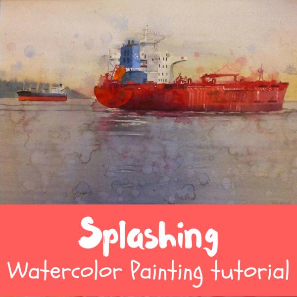 Splashing watercolor tutorial on ARTiful, painting demos by Sandrine Pelissier