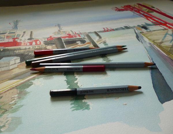 watercolor crayons painting