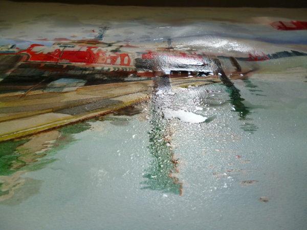 splashing water on watercolor painting