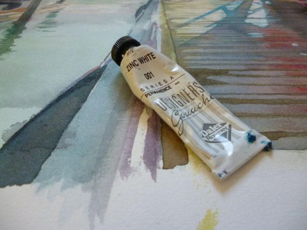 white gouache on watercolor