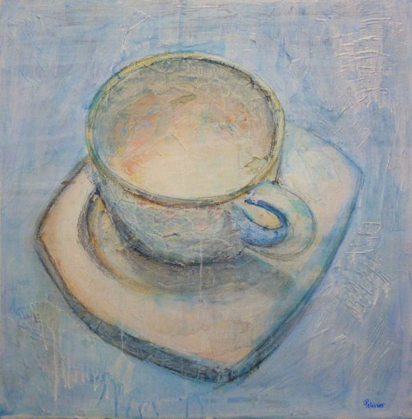 acrylic painting ideas, painting a cup of coffee