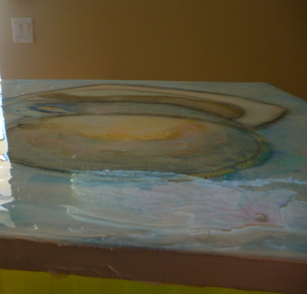 epoxy resin on acrylic paint
