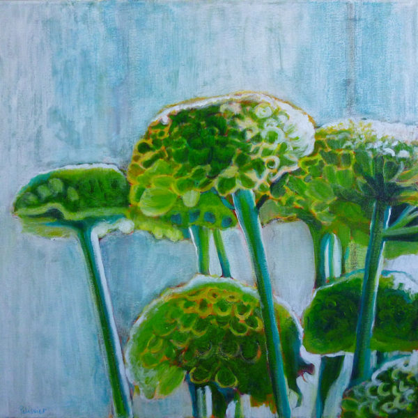 acrylic and mixed media painting of green mums