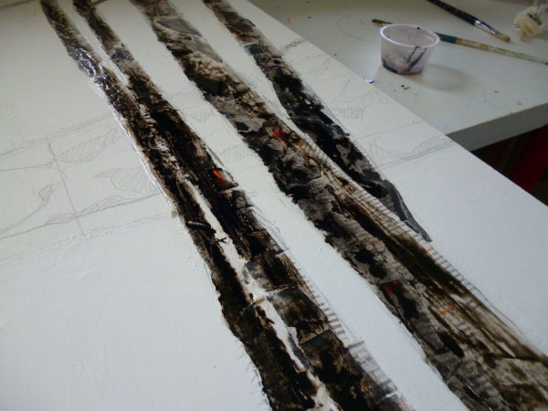 Now I want to represent the patterns on the birch bark, I start by working with India Ink