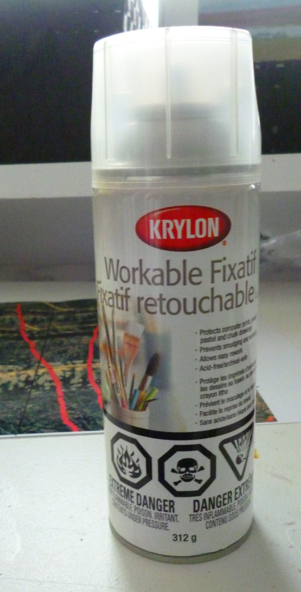 I fix the watercolor, gouache, ink and pastels with krylon workable fixative.